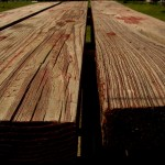 Stain a table like this old picnic table.